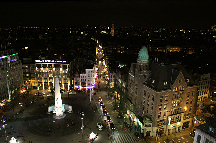 Фото: Амстердам, вид сверху ночью