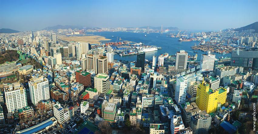 Панорама города Пусан, Южная Корея